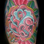 flower skull tattoo picture by T Massari