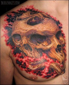 Tim Kern skeleton chest tattoo picture