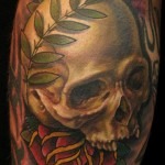 Nate Beavers skull flower tattoo picture