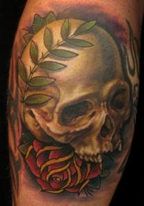 Nate Beavers skull flower tattoo picture