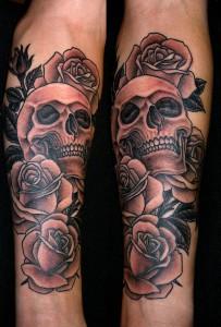 Marco Cerretelli skull rose tattoo picture
