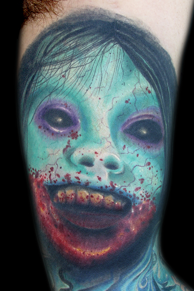 Know a great tattoo artist who is good at zombie tattoo pictures and designs