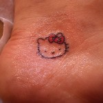 hello kitty foot tattoo